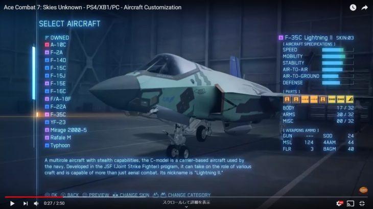 エースコンバット7の機体・強化パーツシステムの考察