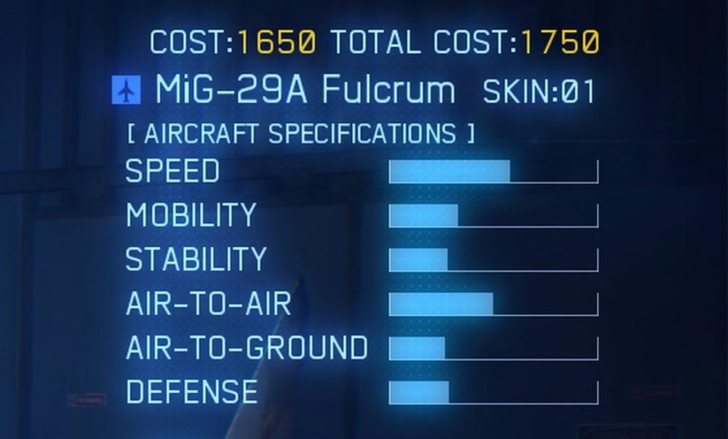 ACE COMBAT™ 7: SKIES UNKNOWN_MiG-29A Fulcrum SPEC